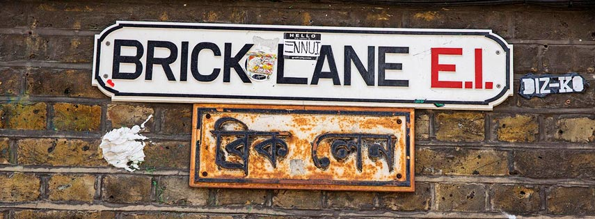 Brick Lane street sign in London
