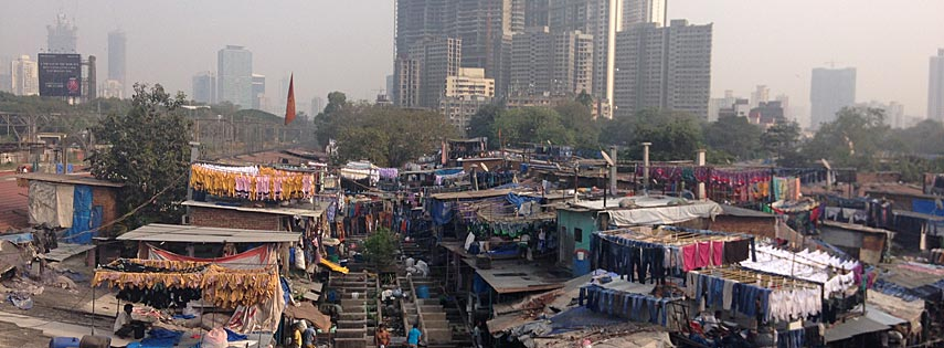 Dhobi Ghat in Mumbai with cityscape in background