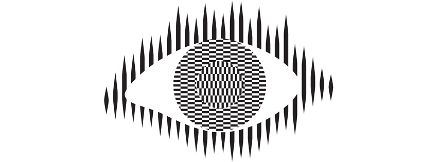 Ouchi Eye illustration, an optical illusion named after its creator, the Japanese artist Hajime Ouchi