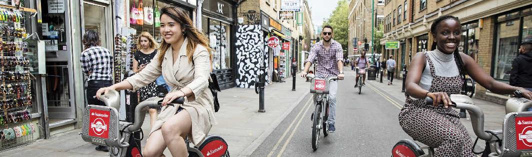 Students on Santander bikes