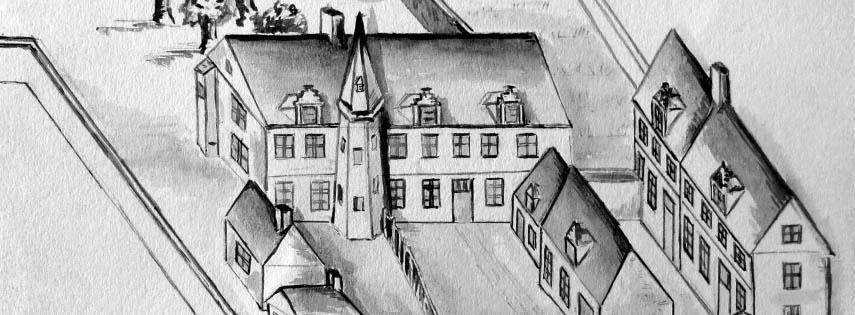 sketch of old buidlings